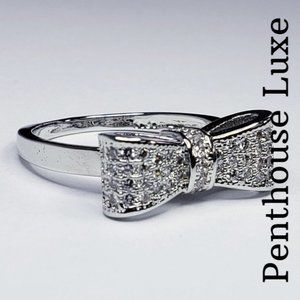🎀 Sterling Silver 925 Diamond Bow Engagement Ring